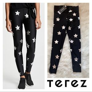 New! TEREZ Silver Star Foil Tall Band Leggings
